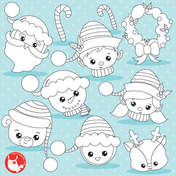 Christmas face stamps commercial use, vector graphics, ima