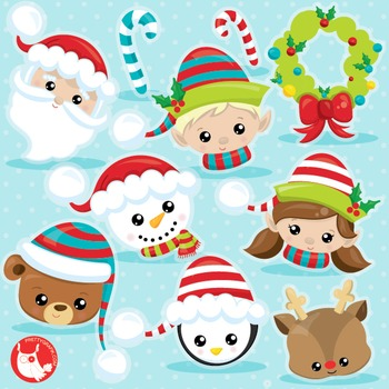 Christmas faces clipart commercial use, vector graphics, digital  - CL1034