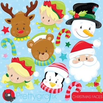 Christmas faces clipart commercial use, vector graphics, digital - CL747