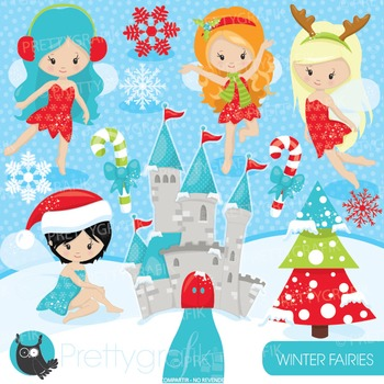 Christmas fairies clipart commercial use, vector graphics, digital - CL929