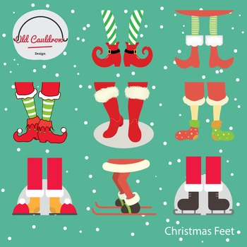 Christmas feet clipart commercial use, vector graphics, digital images CL001