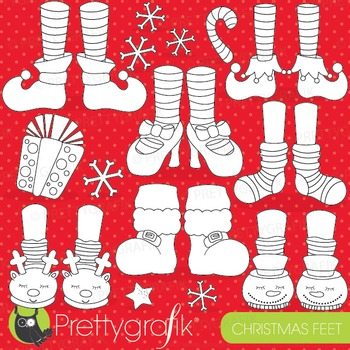 Christmas feet stamps commercial use, vector graphics, images - DS761