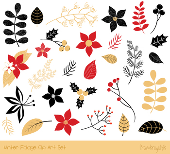 Christmas floral clipart, Winter foliage, Holiday flower, pine branch leaf plant