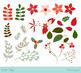 Christmas foliage clip art, Winter foliage clip art, Poinsettia flower, Floral