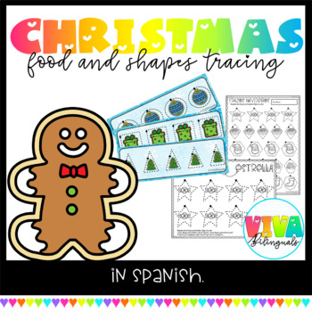 Christmas food and shapes tracing cards and activities in spanish