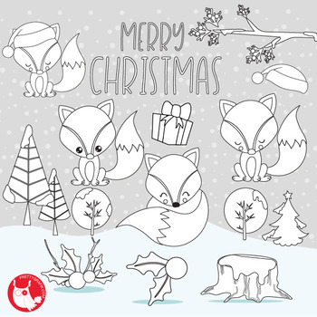 Christmas fox stamps,  commercial use, vector graphics, images  - DS1046