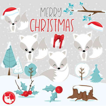 Christmas foxes clipart commercial use, vector graphics, digital  - CL1046