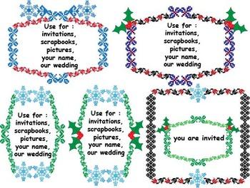 Christmas frames & decorations Clip Art borders wedding snowflake baptism -016-