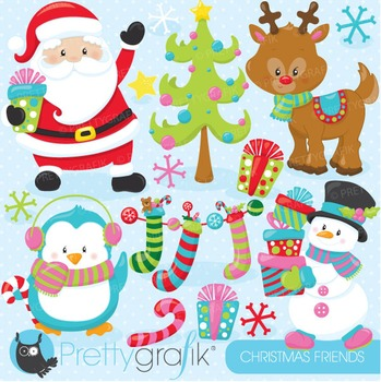 Christmas friends clipart commercial use, vector graphics, digital - CL752
