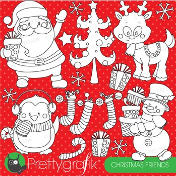 Christmas friends stamps commercial use, vector graphics, images - DS752