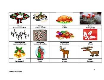 Christmas game French English vocabulary
