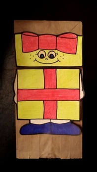 Christmas gift paper bag puppet pattern