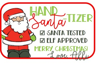 Christmas gift tag for hand sanitizer - Santa-tizer