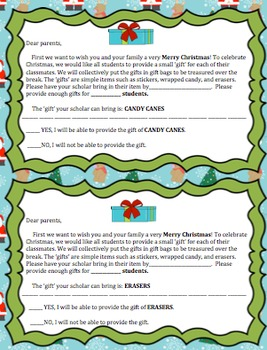 Editable Parent Letter: Christmas gifts made easy (by students for students)