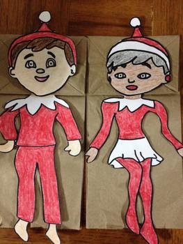 Christmas gilr and boy elf puppet