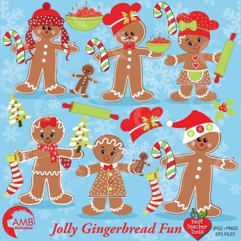 Christmas Gingerbread Clipart, Christmas Cookie Clipart, AMB-377