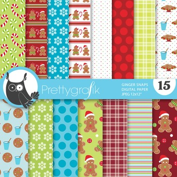 Christmas gingerbread digital paper, commercial use, scrapbook papers - PS643