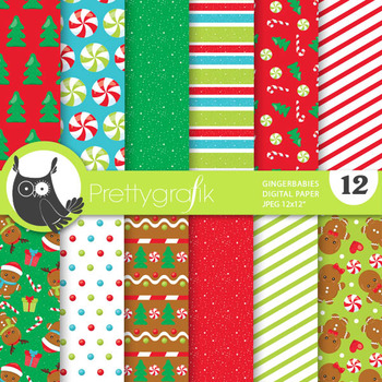 Christmas gingerbread papers, commercial use, scrapbook pa