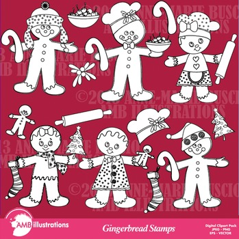 Clipart, Digital Stamps, Christmas gingerbread Outlines, Black line, AMB-507