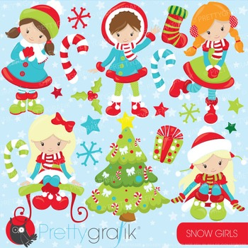 Christmas girls clipart commercial use, vector, digital - CL759
