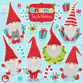 Christmas gnomes clipart commercial use, vector graphics, digital  - CL1039