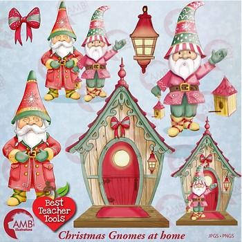 Christmas Gnomes.Christmas Gnomes Clipart Watercolor Christmas Bird House Clipart Amb 1543