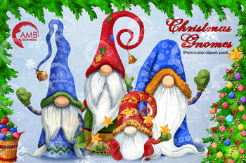 Christmas gnomes clipart watercolor bundle, AMB-2675 by ...