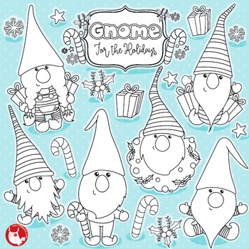 Christmas gnomes stamps commercial use, vector graphics, images  - DS1039