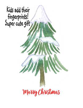 Christmas holiday parent teacher gift fingerprint art tree evergreen