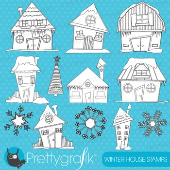 Christmas houses stamps commercial use, vector graphics, images - DS403