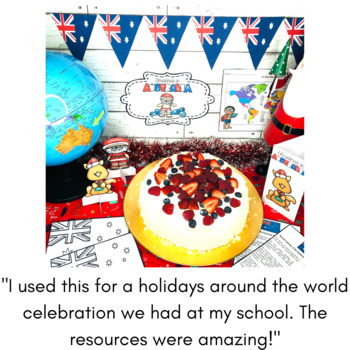 Christmas Around the World AUSTRALIA map traditions food flags