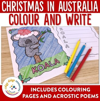 Christmas in Australia Colouring Pages and Writing Templates