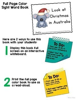 Christmas in Australia Emergent Reader and Activities