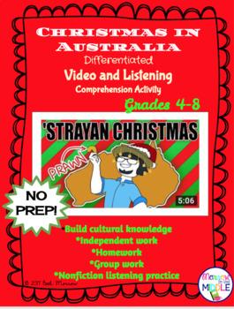 Christmas in Australia NO PREP Nonfiction Video/Comprehension Activity