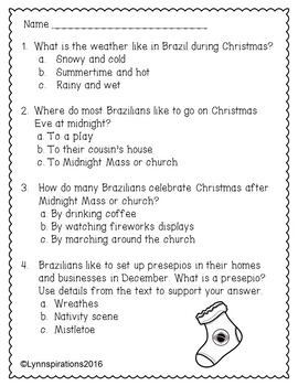 christmas in brazil non fiction reading comprehension passage for grades 1 3