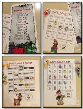 Christmas in Color-Roll & Cover - 10 Frames, Number Words, & Numbers