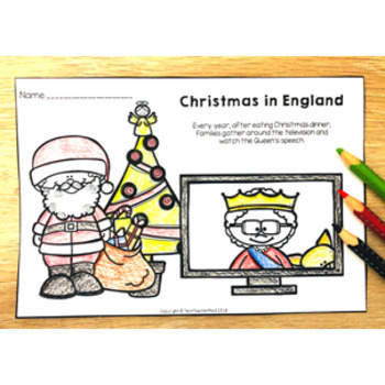 Christmas Around the World ENGLAND map traditions food flags