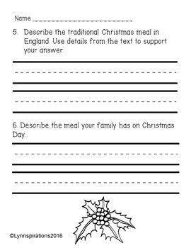 Christmas in England: Non-fiction Reading Comprehension Passage For Grades 1-3