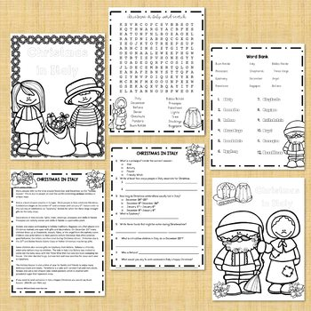 Christmas in Italy Activity Pages