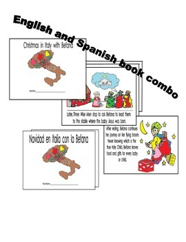 Christmas in Italy w/ Befana  English and Spanish 8pg reading coloring booklets