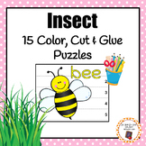 Insect Color, Cut and Glue Puzzles
