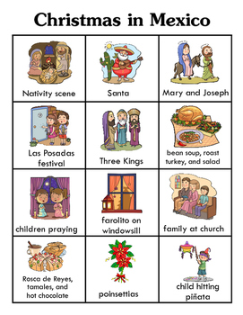 Christmas in Mexico BINGO (words on cards) + 12 bonus pages of vocabulary words