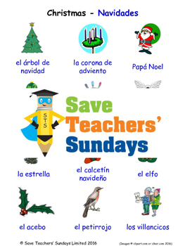 Christmas in Spanish Worksheets, Games, Activities and Flash Cards