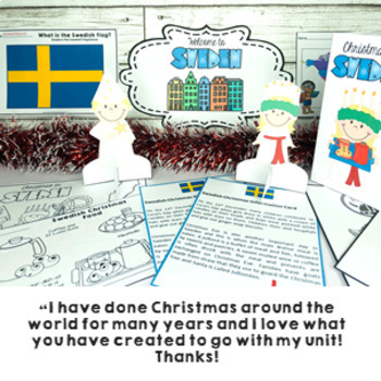 Christmas Around the World SWEDEN Maps Flags Information Cards and Recipe