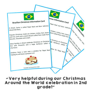 Christmas Around the World ** Brazil ** Maps, Flags, Information Cards & Recipe