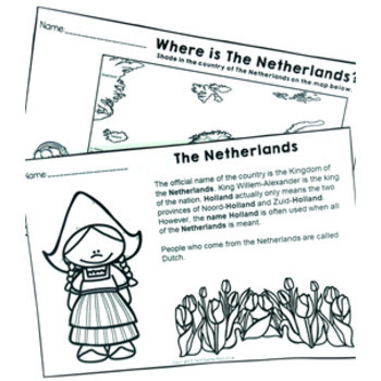 Christmas Around the World ** Netherlands ** Maps, Flags, Info Cards & Recipe
