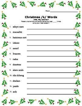 Christmas /k/ Word Scramble