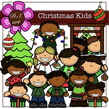 Christmas kids Digital Clipart (color and black&white)