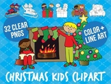 Christmas kids clip art set