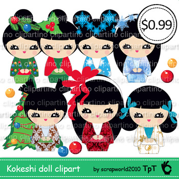 Christmas kokeshi doll clipart,japanese doll,girl,frozen,commercial use-Bundle